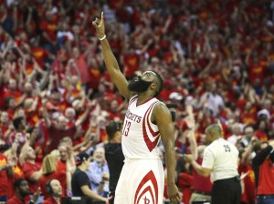 May 17, 2015; Houston, TX, USA; Houston Rockets guard James Harden (13) points up after a play during the fourth quarter against the Los Angeles Clippers in game seven of the second round of the NBA Playoffs at Toyota Center. The Rockets defeated the Clippers 113-100 to win the series 4-3. Mandatory Credit: Troy Taormina-USA TODAY Sports