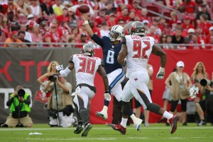 Sep 13, 2015; Tampa, FL, USA; Tennessee Titans quarterback Marcus Mariota (8) throws the ball against the Tampa Bay Buccaneers during the second half at Raymond James Stadium.  Tennessee Titans defeated the Tampa Bay Buccaneers 42-14. Mandatory Credit: Kim Klement-USA TODAY Sports