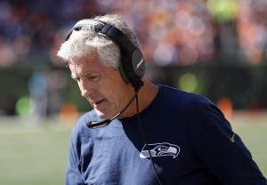 Oct 11, 2015; Cincinnati, OH, USA; Seattle Seahawks head coach Pete Carroll looks on from the sidelines in the second half against the Cincinnati Bengals at Paul Brown Stadium. The Bengals won 27-24. Mandatory Credit: Aaron Doster-USA TODAY Sports
