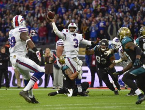 Oct 25, 2015; London, United Kingdom;  Buffalo Bills quarterback EJ Manuel (3) prepares to pass during the second half of the game between the Jacksonville Jaguars and the Buffalo Bills  at Wembley Stadium. Mandatory Credit: Steve Flynn-USA TODAY Sports