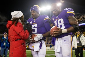 Dec 27, 2015; Minneapolis, MN, USA; Minnesota Vikings quarterback Teddy Bridgewater (5) and running back Adrian Peterson (28) are interviewed by NBC personality Michelle Tafoya following the game against the New York Giants at TCF Bank Stadium. The Vikings defeated the Giants 49-17. Mandatory Credit: Brace Hemmelgarn-USA TODAY Sports