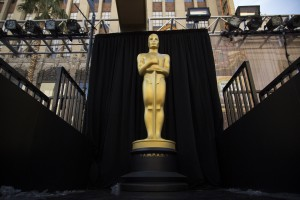 Feb 27, 2016; Hollywood, CA, USA;   Detail of a giant Oscar statue on the red carpet during setup for the 88th annual Academy Awards at the Dolby Theater. Mandatory Credit: Andrew P. Scott-USA TODAY NETWORK